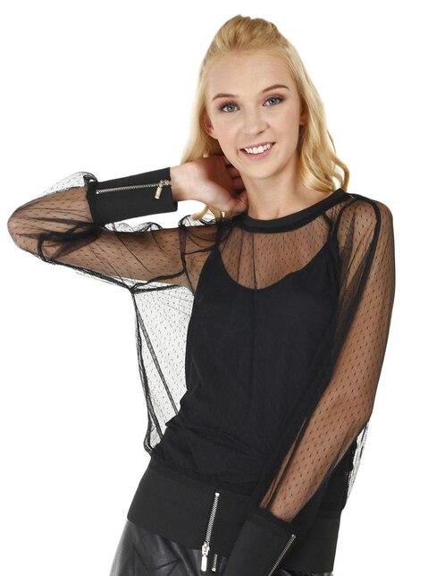 Blusa That s It negra con diseño gráfico traslúcida 7ec67c4821571