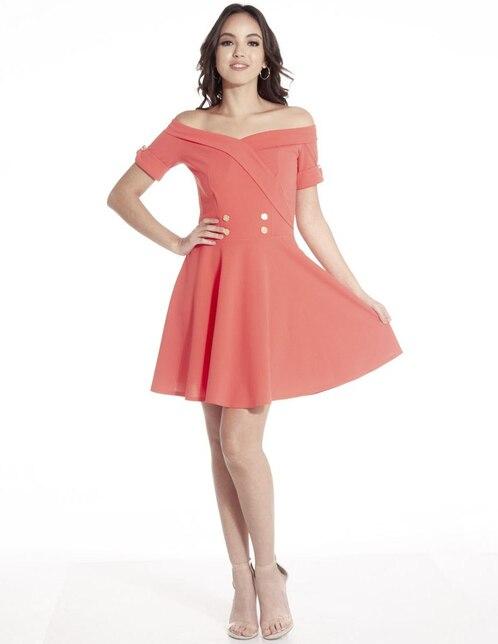09e7a26ba Vestido Sarah Bustani coral casual