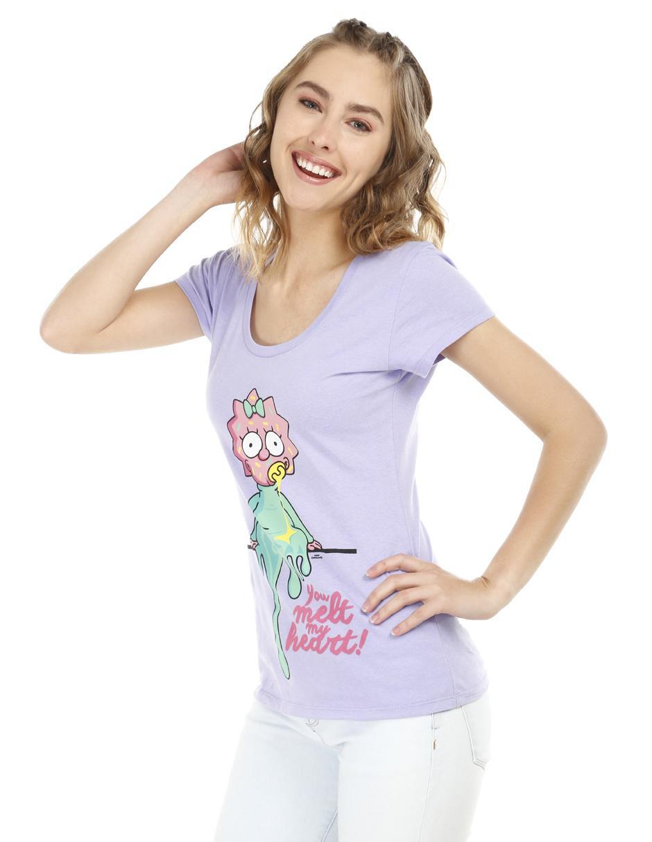 Playera con diseño gráfico Los Simpson algodón lila 2f0bdf5febe24