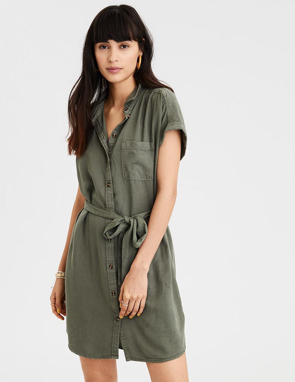 Vestido Casual American Eagle Verde Olivo