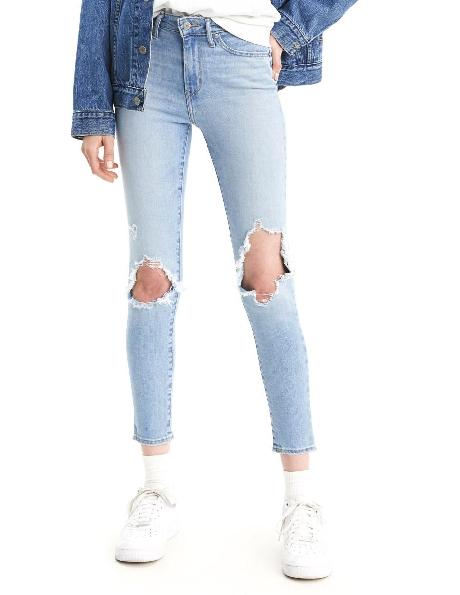 Jeans Skinny Levi S 721 Destruido Corte Media Cintura En Liverpool